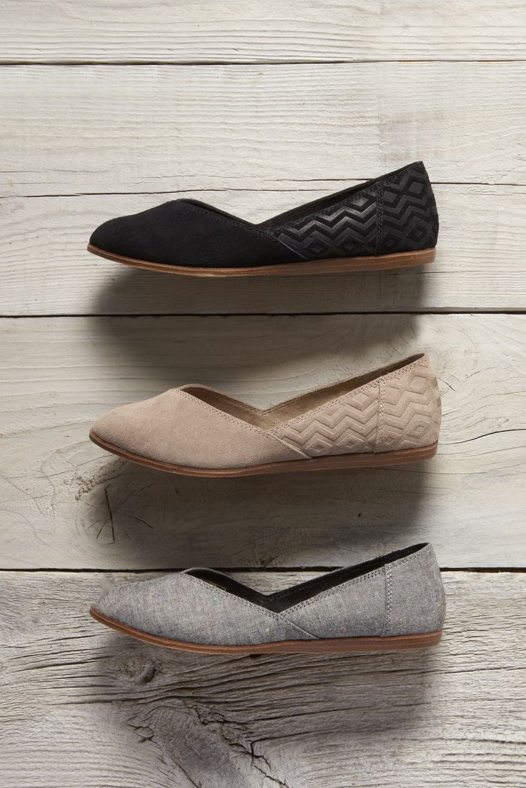 Embossed, suede, chambray and more. Click to Shop TOMS Jutti Flats.