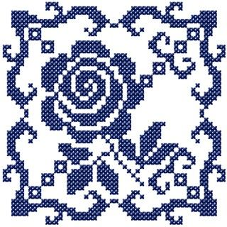 "Motif ""Roseline's kitchen"" A. Cross stitched motif with rose for your tablecloth and kitchen towels. This is the main part of the kitchen patterns ""Roseline's kitchen""."