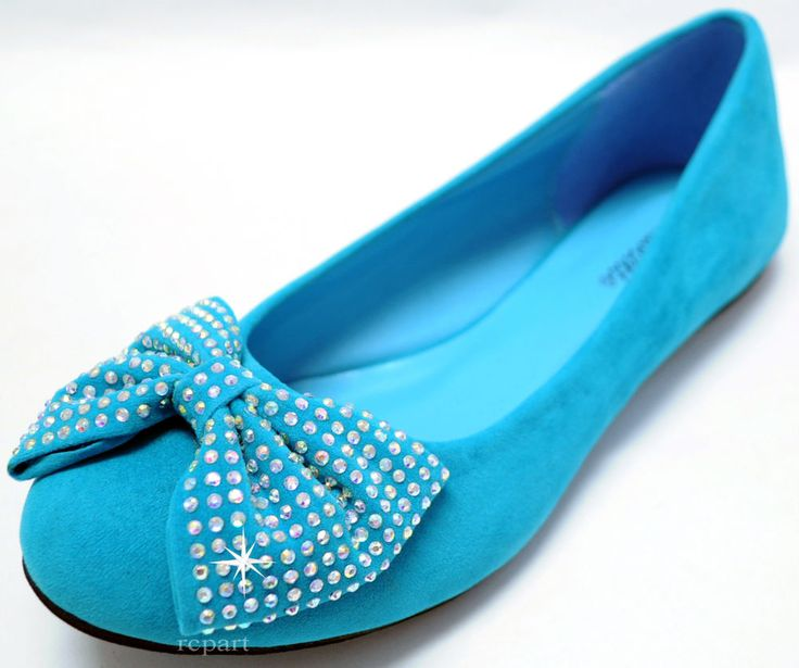 New women's shoes ballet flat balleraina suede bow rhinestones light blue #Mascotte #BalletFlats