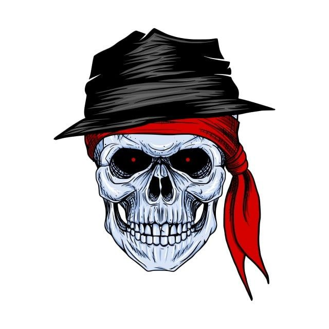 Skull Bandit With Red Bandana And Hat Hand Drawing Skull Vector And Png How To Draw Hands Red Bandana Face Drawing