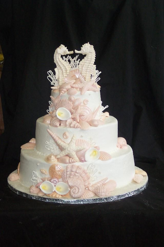 sea shell wedding cakes seashell cake with seahorses animal sea 19712