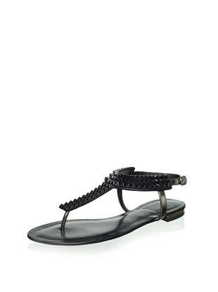Schutz Women's Studded Thong Sandal (Pewter/Black)