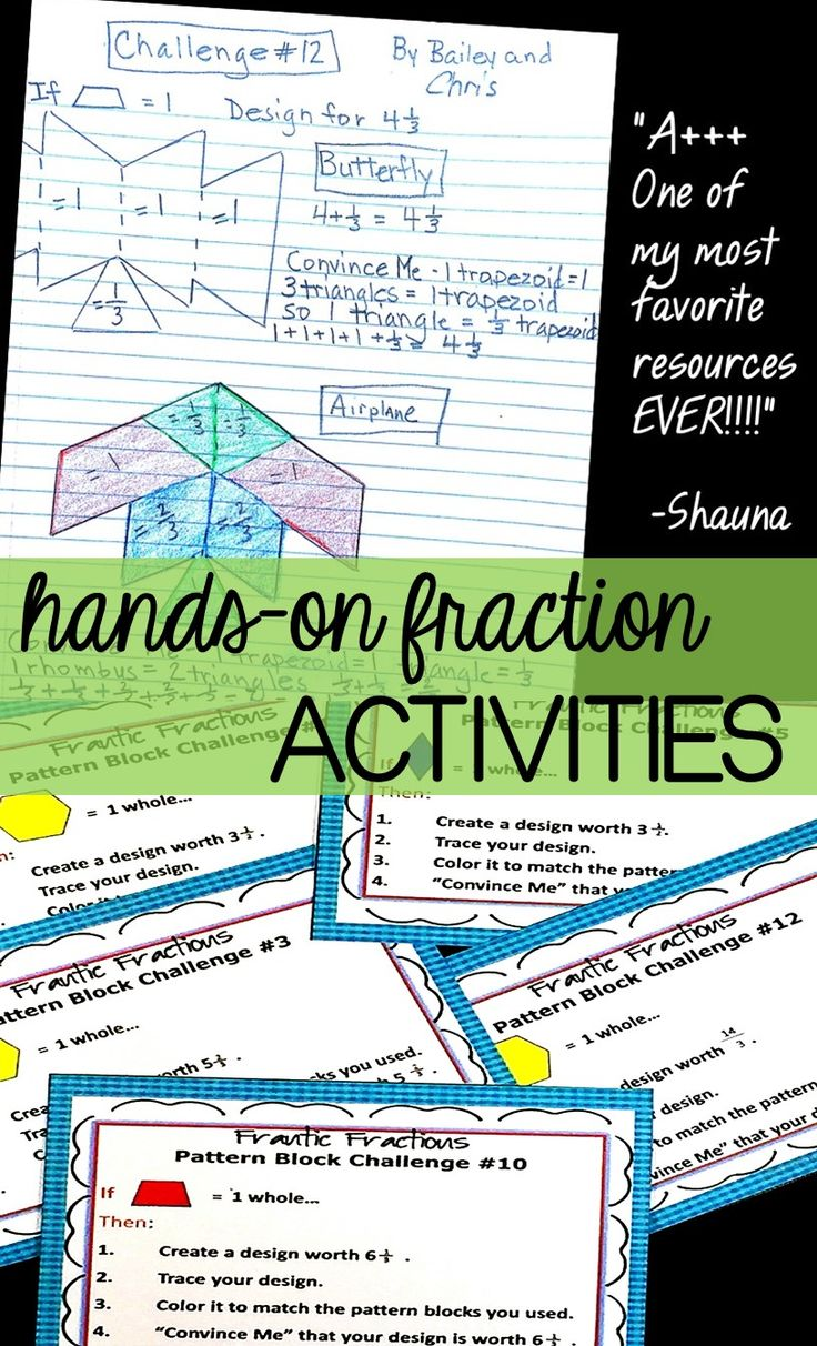 These center task card challenges for 3rd, 4th, and 5th grades are ✎ rigorous and hands-on while still being lots of fun!   The activities use the proportional relationships between Pattern Blocks to build and challenge fraction knowledge. Each task allows for individual creativity while building student understanding of fractions! Perfect for motivating students.