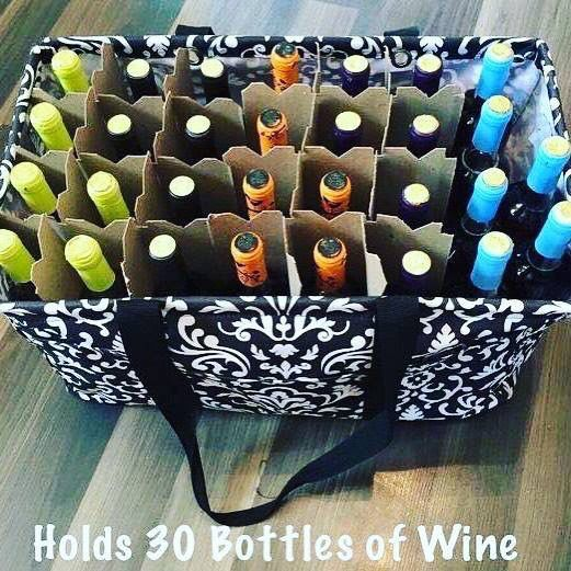 The Large Utility Tote holds 30 bottles of wine!  https://www.mythirtyone.com/1866538/shop/Party/EventDetail/9414205