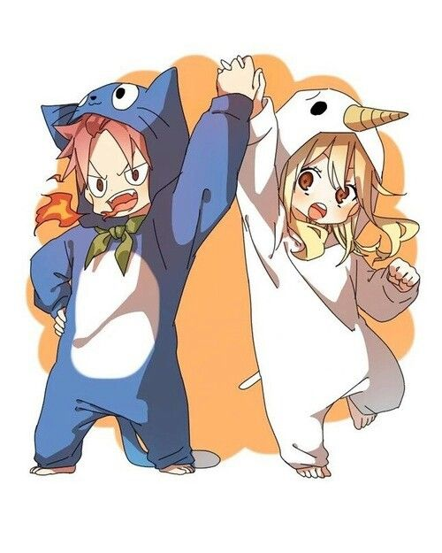 Natsu as Happy and Lucy as Plue