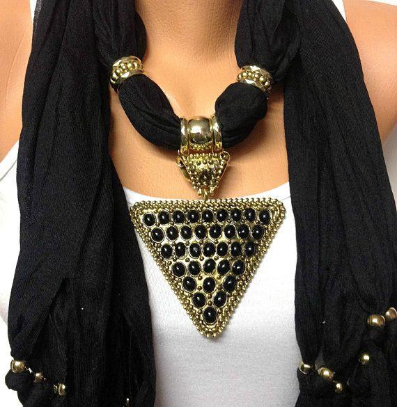 black jewelry scarf with big pendant Christmas by BienBijou