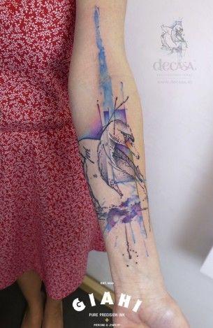 Aquarelle White Swan tattoo by Carola  Deutsch