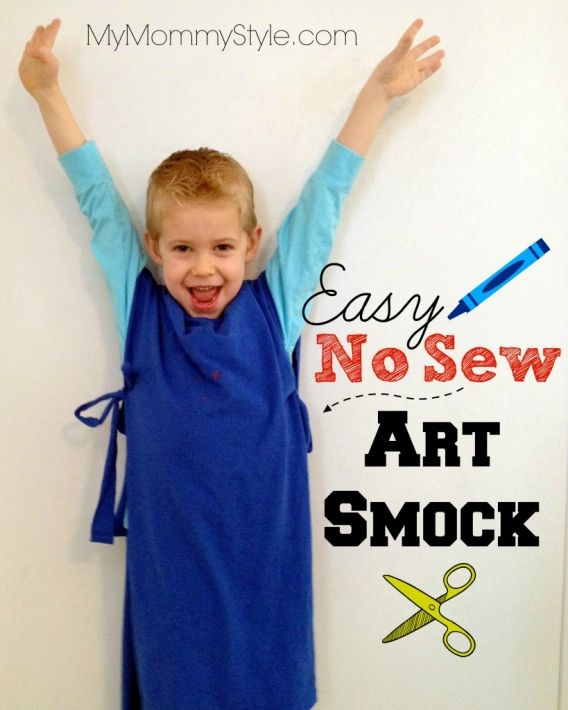 easy no sew art smock for kids... just made three of these in literally minutes.