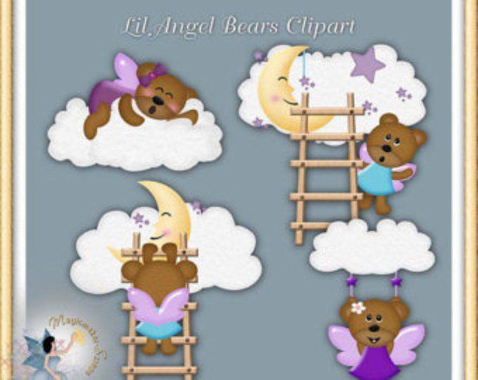 Ange, ours en peluche, bébé, tout usage Commercial, Scrapbook Digital, Clipart