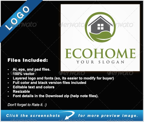 Eco Home Logo - Buildings Logo Templates