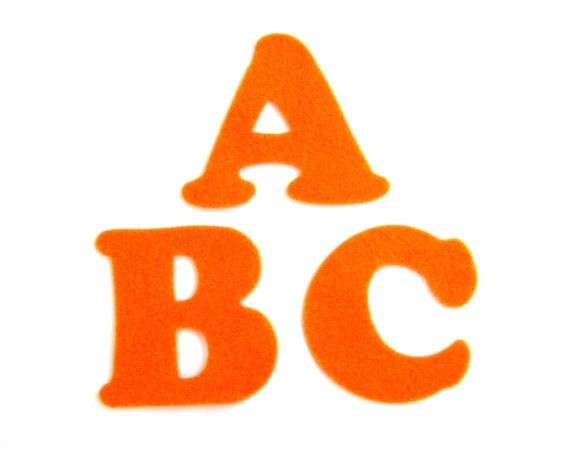 Orange Felt Alphabet Letters  Fabric Applique by NewEnglandQuilter, $7.50