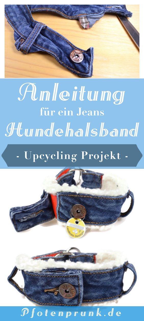 Jeansupcycling collar DIY (con botón)   – ♥ Pfotenprunk DIY – Anleitungen für Hunde (Hundehalsband, Geschirr, Leine, Basteln, Nähen, Betten, Halsband)