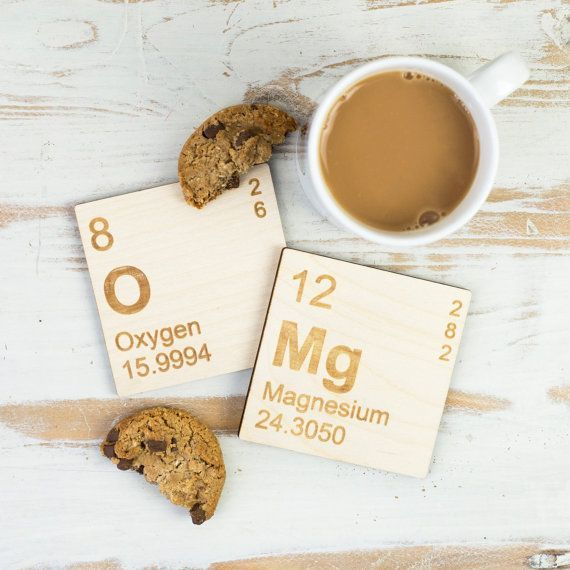 OMg Periodic Table Wooden Coasters Set. Fun geek gift for teenagers. Stocking filler science elements gift for him or her. Breaking Bad