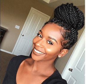 Chic Senegalese Twists Bun IG:@mahoganycurls #naturalhairmag #protectivestyles