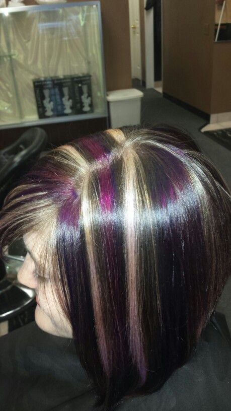 Purple Magenta And Blonde Highlights Hair Pinterest