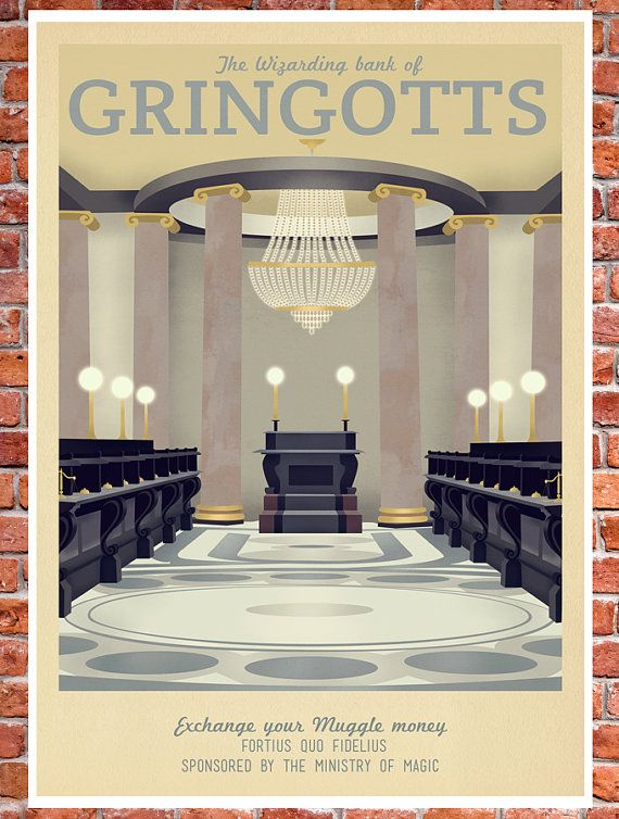 Retro Travel Poster Harry Potter Gringotts Bank by TeacupPiranha