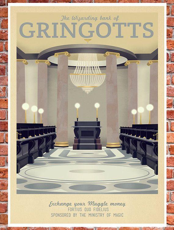 Retro Travel Poster Harry Potter Gringotts Bank by TeacupPiranha