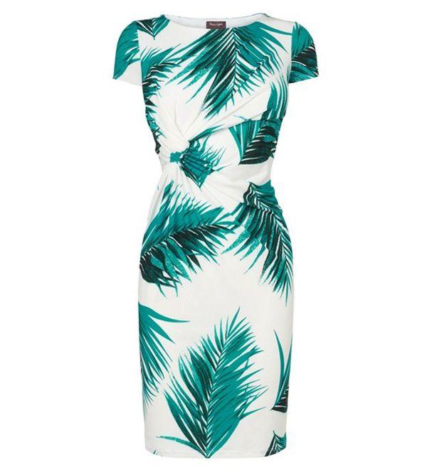Robe cintrée à manches courtes à imprimé palmiers avec détail noué, Phase Eight, 97,14€.