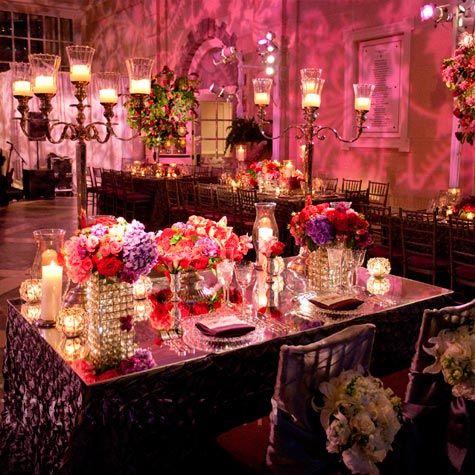 Pink And Purple Wedding Reception Lighting