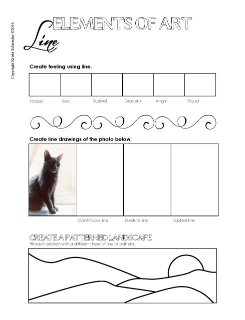 Elements of art worksheets for middle school