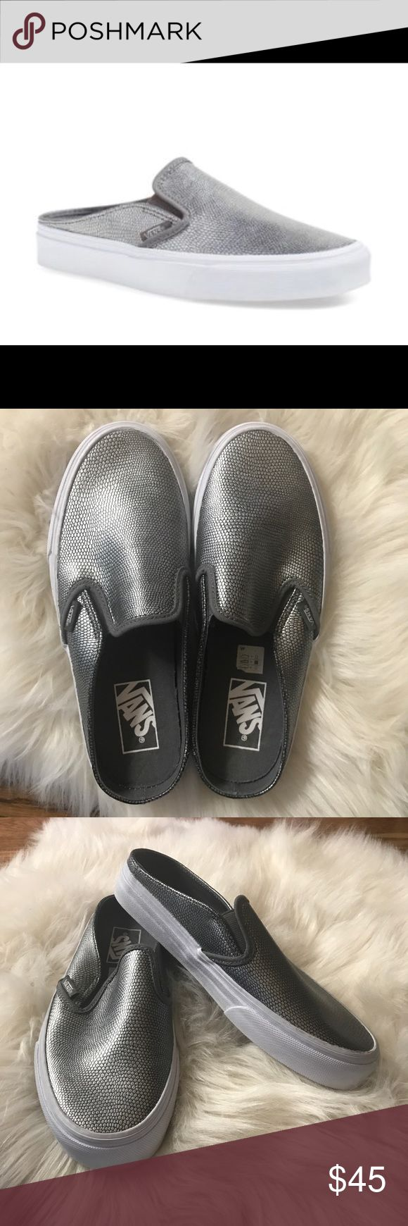 Vans silver gray textured slip on sneakers 7.5 Vans slip on classic mule sneaker. Gray silver embossed. Size ladies 7.5. Website recommends to size up 1/2 size. Look brand new! Minor marks from storage but overall excellent! Vans Shoes Mules & Clogs