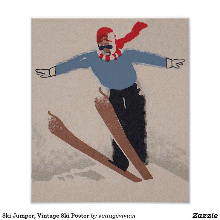 Ski Jumper, Vintage Ski Poster