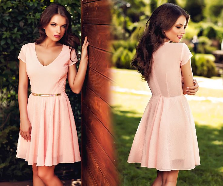 Short, simple elegant dress made from 3D tulle, with precious application at the waist, perfect for a wedding party.