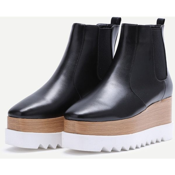 SheIn(sheinside) Black Faux Leather Square Toe Platform Chelsea Boots (1.200 CZK) ❤ liked on Polyvore featuring shoes, boots, black platform boots, high heel winter boots, vegan boots, winter boots and short black boots