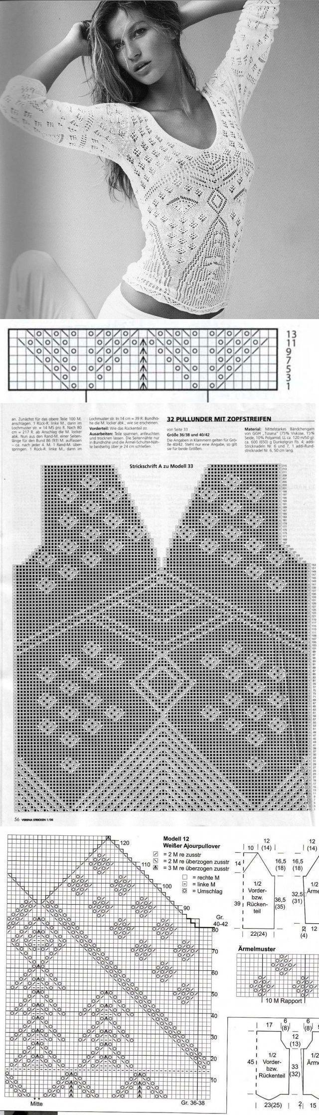 knitting pattern blouse ...♥ Deniz ♥ [] #<br/> # #Knitting #Patterns,<br/> # #Knitting,<br/> # #Blouses,<br/> # #Tissues<br/>