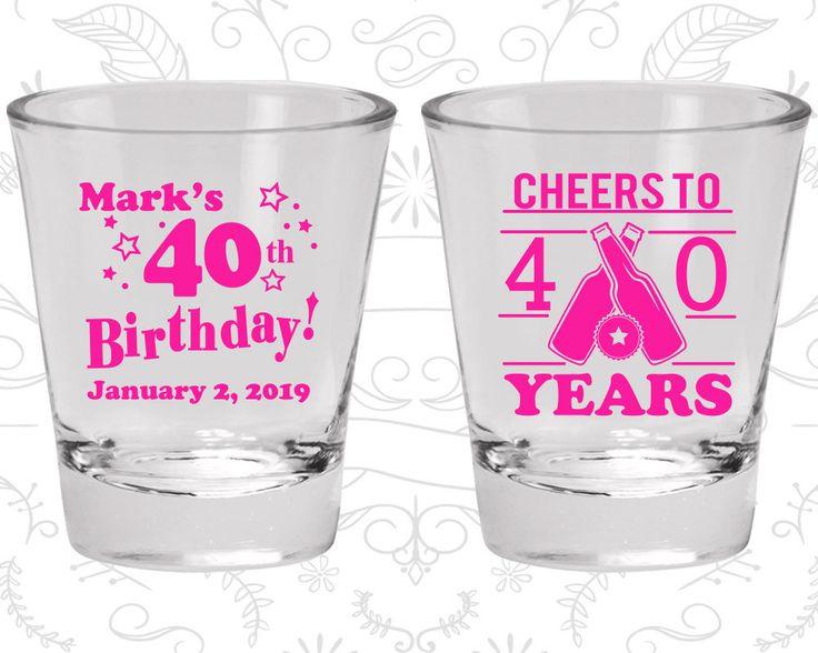 40th Birthday Shot Glasses, Custom Birthday Shot Glass, Cheers to 40 years, Beer Birthday, Birthday Shot Glasses (20162)