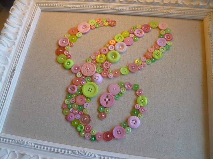 """Baby Girl Nursery Monogram in Mix of Pink and Green Buttons -- Ready-to-Frame in 11""""x14"""" Size (frame not included)"""