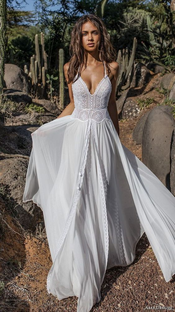 626e0c82f61 Asaf Dadush 2018 bridal sleeveless thin strap sweetheart neckline heavily  embellished bodice romantic bohemian soft a line wedding dress open strap  back ...