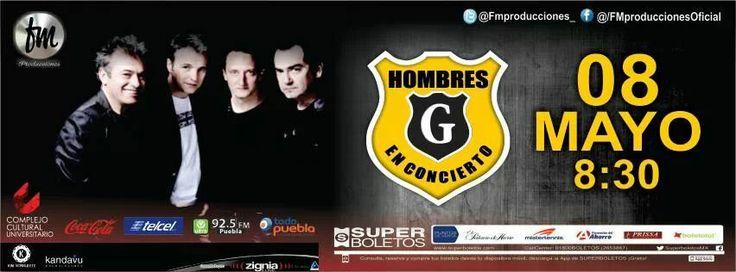 Puebla, HOMBRES G en concierto el 08 de mayo del 2014 en el Complejo Cultural Universitario. Información www.hombresg.net