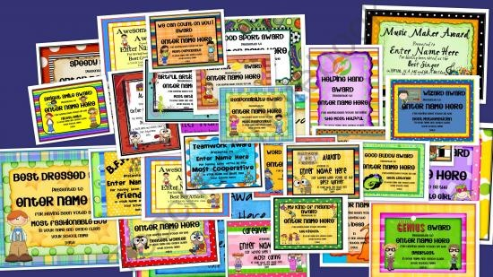 Classroom Voting Ideas ~ End of the year award certificates from teaching junkie on