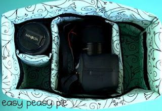 How to make an insert in a regular purse for camera equipment.