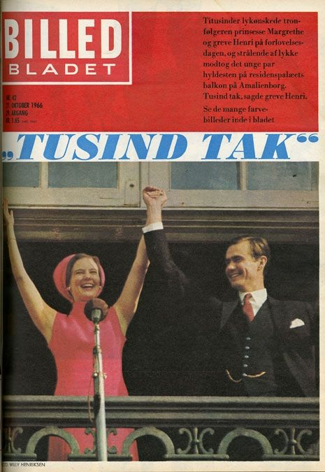 Front page of Danish magasin Billed Bladet with the engagement of Princess Margrethe of Denmark and French Count Henri de Laborde de Monpezat