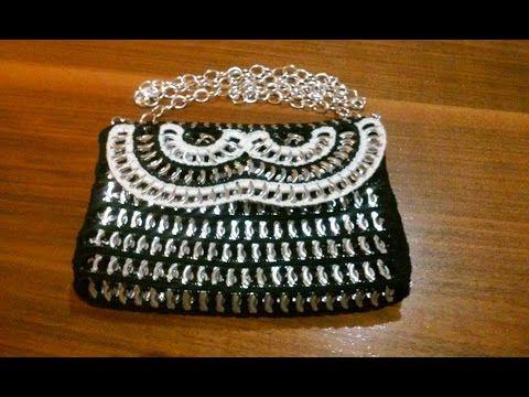 Como hacer un bolso de fiesta con anillas de lata BOLSO BLACK & WHITE 1 - YouTube