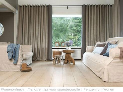 Raam decoratie mogelijkheden Gordijnentrends 2013 Beige en grijstinten maken het landelijke interieur wat stoerder, net als nonchalante linnen stoffen. Vadain.  Jongeneel Gordijnen
