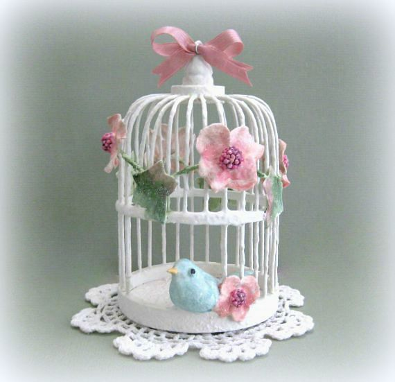 Baby Shower Gift Baby Nursery Bird Cage Decor Clay Floral Birdcage Decor White Birdcage with Bird Decorative Birdcage Decoration Miniature - pinned by pin4etsy.com