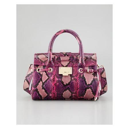 Rosalie Small Python Satchel Bag, Pink Mix
