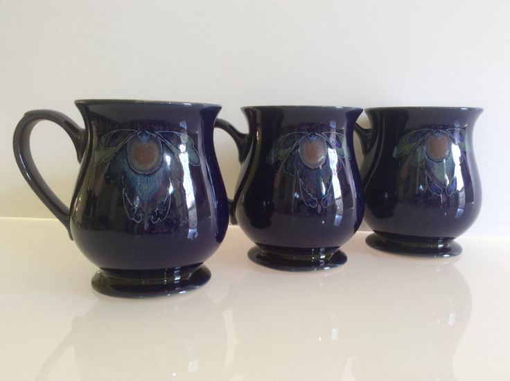 Denby Baroque Mugs, Set of 3; Denby Baroque Craftsman Mugs by ClassicCrush on Etsy