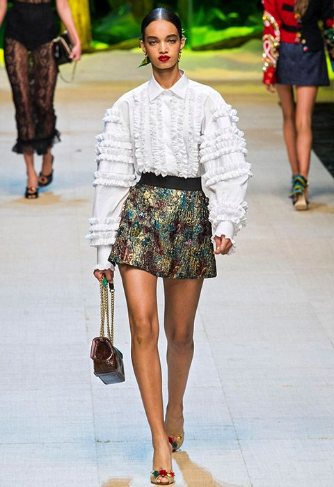 Dolce & Gabbana model wearing a sequin skirt | ASOS Fashion & Beauty Feed