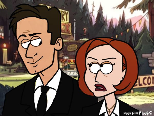 """""""This place is more of a tourist trap than an x file, Mulder."""" """"And the report about Agent Powers and Agent Trigger and the apparently very real zombies they barely escaped?""""""""Publicity stunt? I don't know, Mulder. But it wasn't zombies."""" art by Super-Cute"""