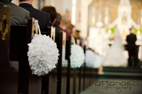 Wedding Pew Pomanders :  wedding pew pomanders pomanders church decorations pew church flowers flowers white ivory ceremony Kerr Wedding 4