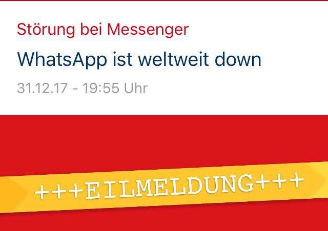 Passiert wohl heute noch öfters. Der Grund ist uns inzwischen bekannt. Ein älterer Herr hat sich bei uns telefonisch gemeldet und meinte: ich glaube ich habe das Internet und WhatsApp kaputt gemacht.  Na egal ob WhatsApp geht oder nicht. Wir wünschen ein klasse Sylvester   Und wieder ist WhatsApp off   Ergänzung: WhatsApp geht wieder - nochmal Glück  gehabt  noch rund 40 Minuten.  #whatsApp ist #weltweit #abgeschaltet. Ob es und welche #Hacker es down gelegt haben ist noch nicht bekannt. Nun…