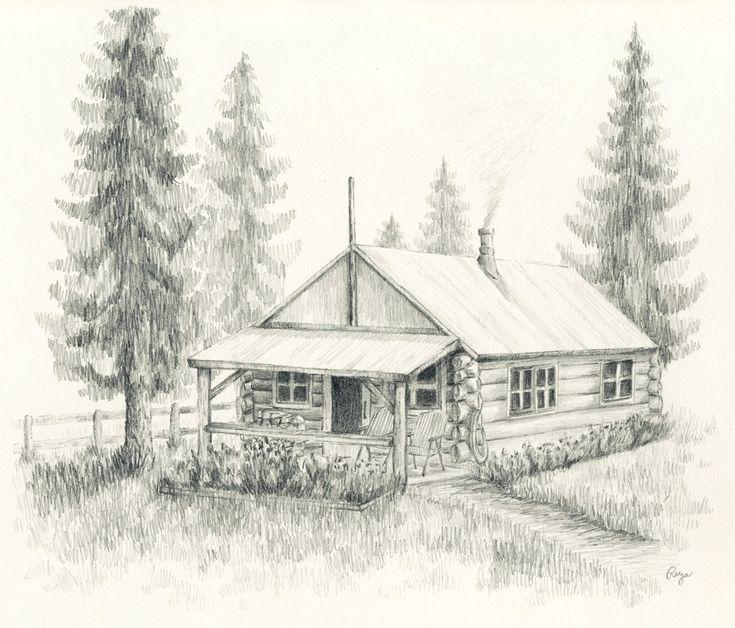 Log Cabin Drawing Little log cabin original pencil drawing 8x10 by rockplanet