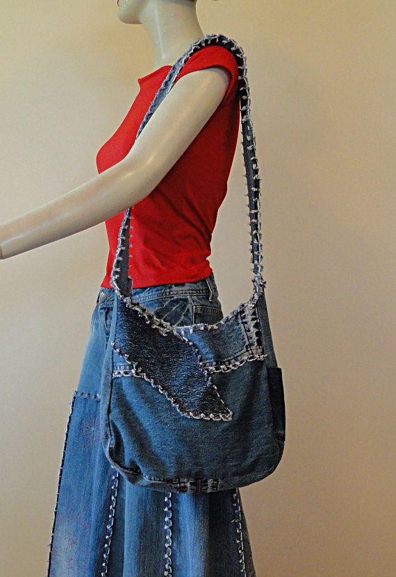Essentials Denim Shoulder Bag Upcycled Denim by DenimDiva2day $45.00