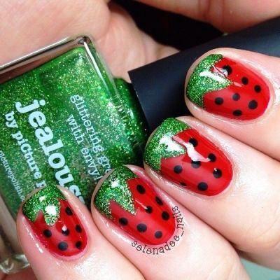 Create this strawberry nail art for short nails | AmazingNailArt.org