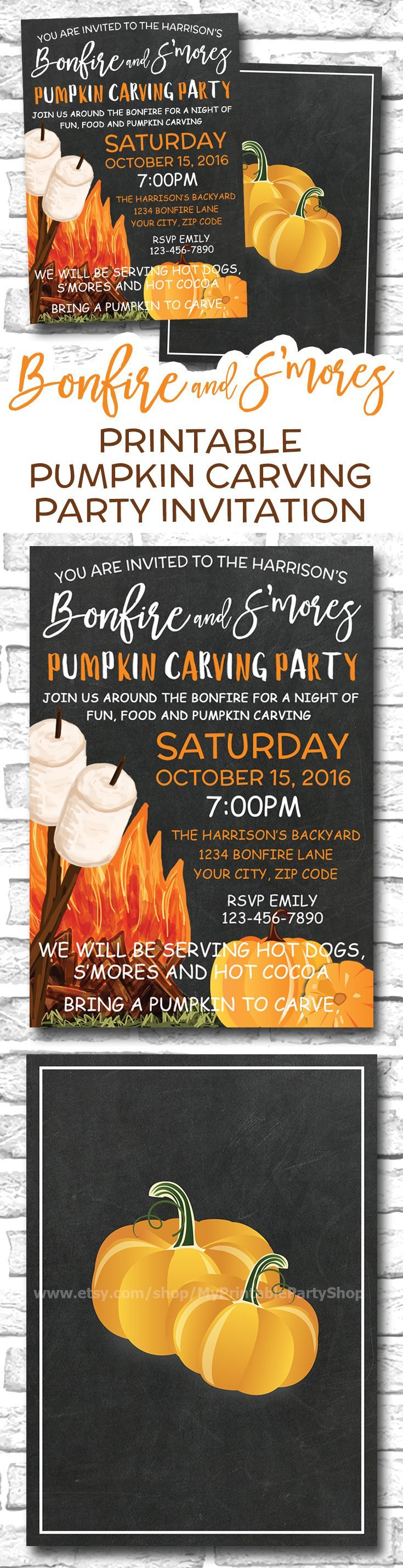 https://www.etsy.com/ca/listing/465912104/pumpkin-carving-party-invitation-smores Printable Bonfire And Smores Pumpkin Carving Party Invitation