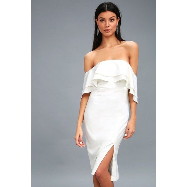 Band White Off-the-Shoulder Midi Dress (5,810 DOP) ❤ liked on Polyvore featuring dresses, white, white dress, white stretch dress, long-sleeve midi dresses, bardot dress and white midi dress